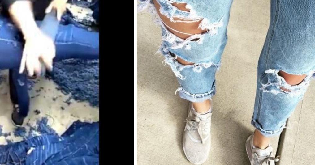 Вот так на самом деле делают мегамодные рваные джинсы
