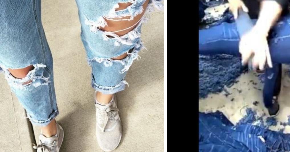 Вот как на самом деле делают мегамодные рваные джинсы