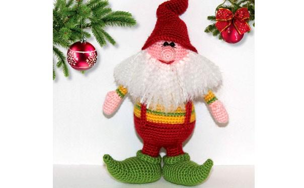 Рождественский гном. Крючком. Описание