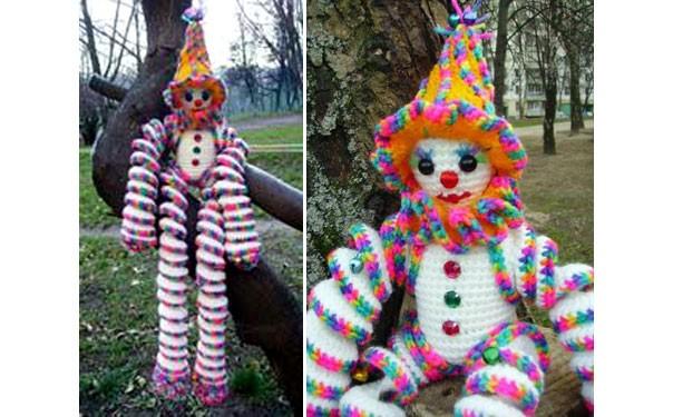 Вязаная крючком игрушка. Клоун из спиралек. Описание