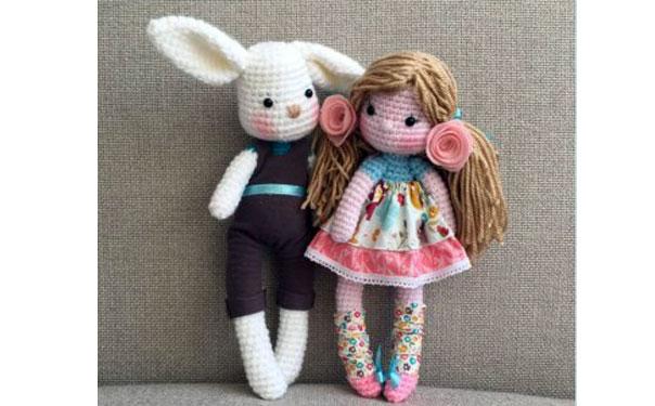 Вязаные крючком заяц Джек и кукла Грейс. Схема