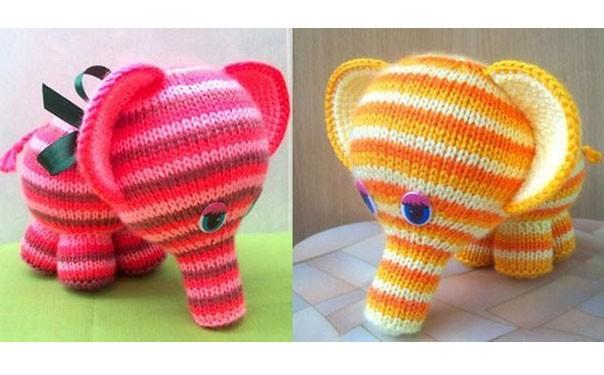 Вязаный разноцветный полосатый слоник. Описание