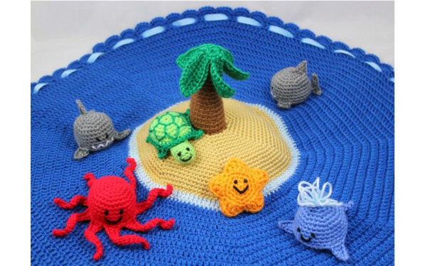 """Вязаный коврик """"Обитаемый остров"""". Схема"""