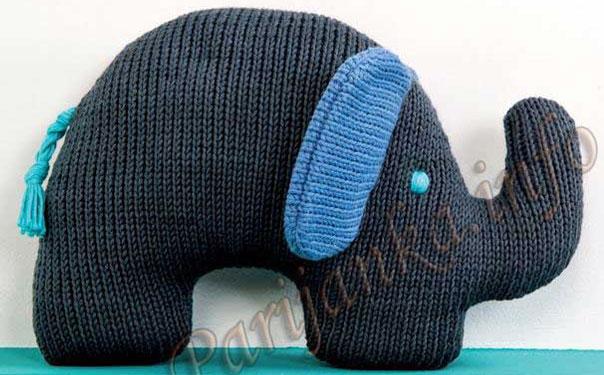 """Подушка-игрушка """"Слон"""". Спицами"""