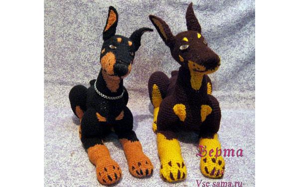 Вязаная собака доберман Берта. Схема