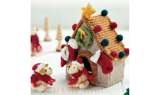 Вязаные рождественская будка и щенки