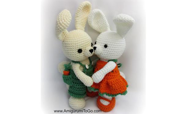 Вязаные зайчата с морковками. Схема