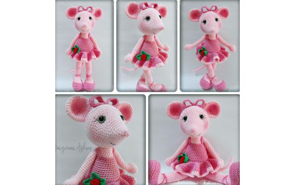 Вязаная мышка Анжелина-балерина