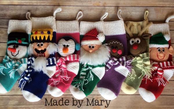 5 подарочных носочков вязаных. Схемы