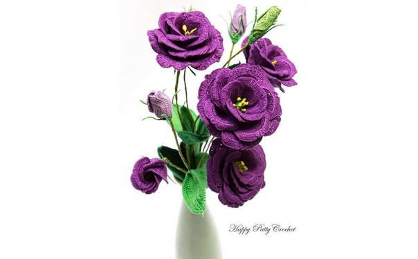 Вязаный цветок сиреневые розы. Схема