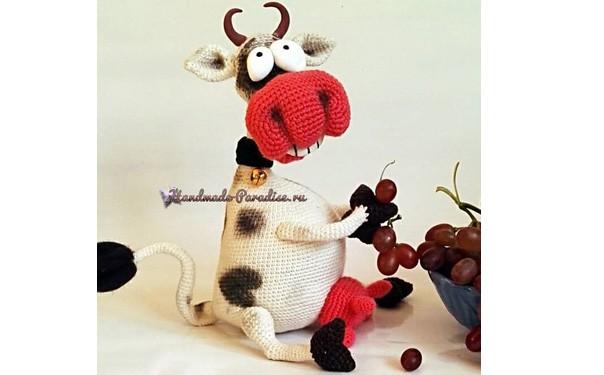 """Вязаная крючком игрушка """"Веселая корова"""". Описание"""