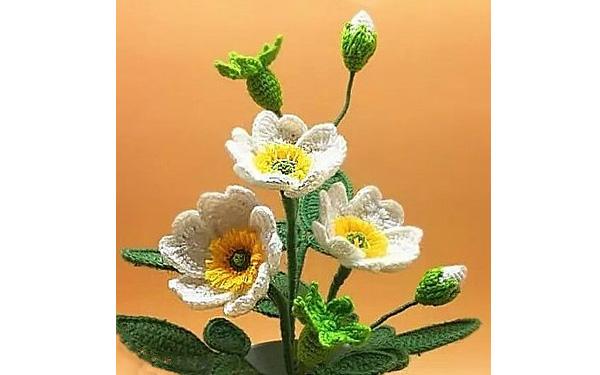 Вязаный цветок шиповника. Схема