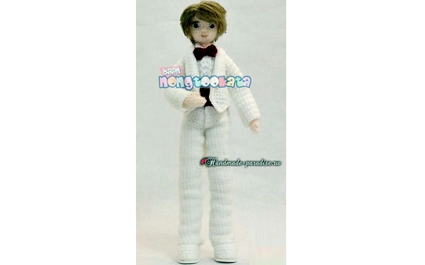 Вязаная кукла Мальчик в белом костюме. Схема