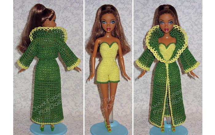 Вязаный комплект для Барби: боди и пеньюар. Схема