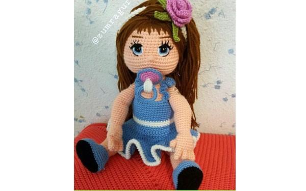 Вязаная кукла Малышка с соской. Схема