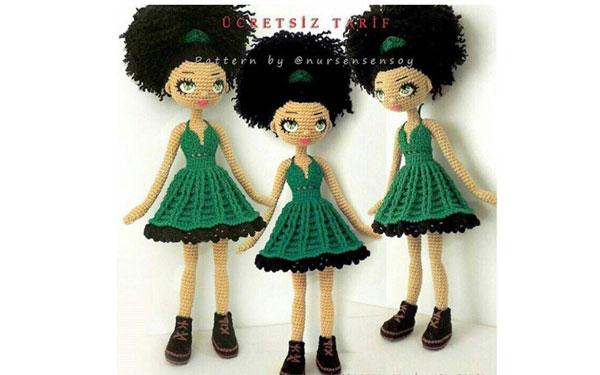 Вязаная куколка Модница. Схема
