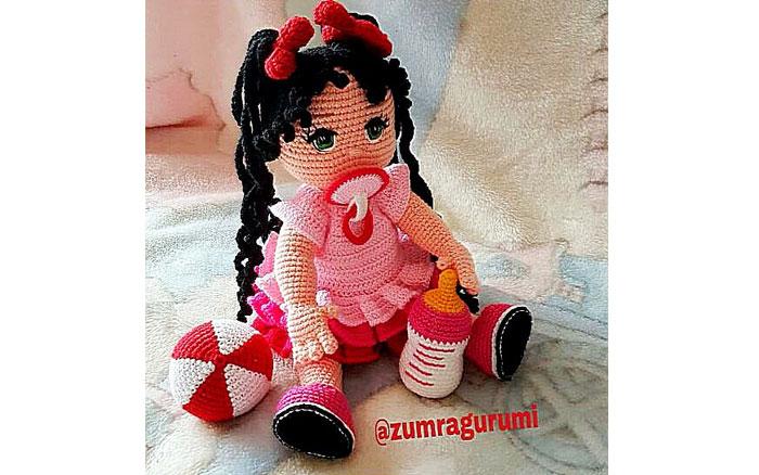 Вязаная крючком кукла Малышка с соской. Схема