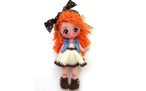 Вязаная рыжеволосая кукла. Схема