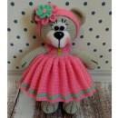 Вязаный медвежонок в платье. Схема