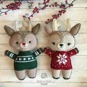 Рождественский олень. Вязаная плоская игрушка