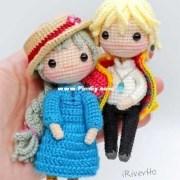 Вязаные куклы Софи и Хаул. Схема