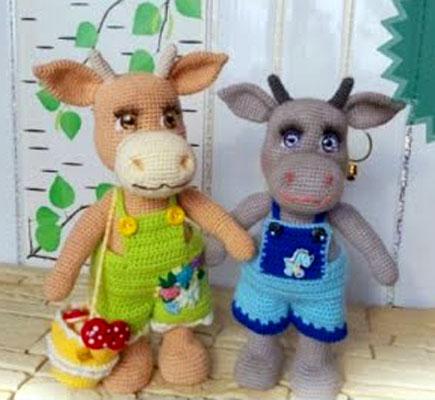 Вязаные корова Дуся и бык. Мастер-класс