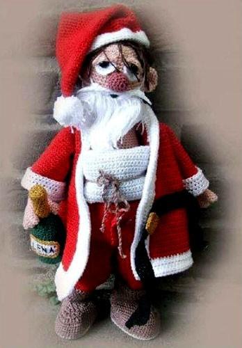 Вязаный Пьяный Санта Клаус. Крючком