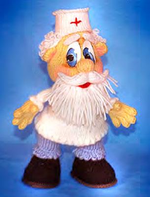 Вязаная кукла Доктор Пилюлькин
