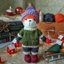 Вязаная лиса в зимнем наряде. Крючком