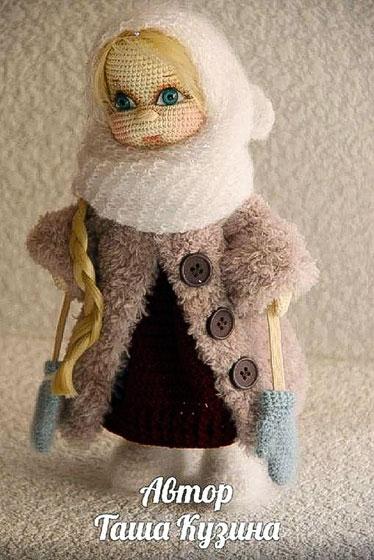 Вязаная кукла Зимняя девочка. Крючком