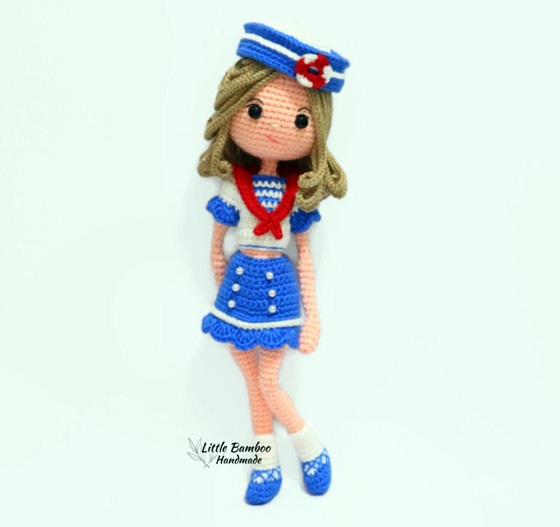 Вязаная крючком кукла Морячка. Описание