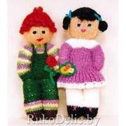 Вязаные спицами куколки Девочка и Мальчик