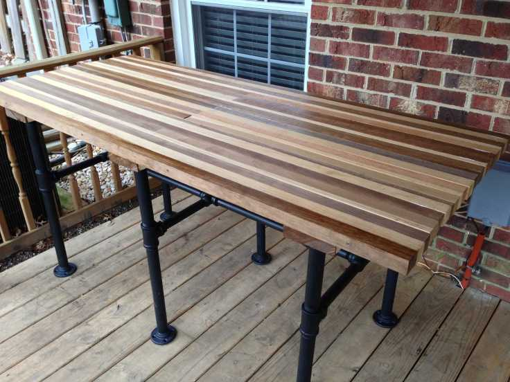 Completed slat pipe table.