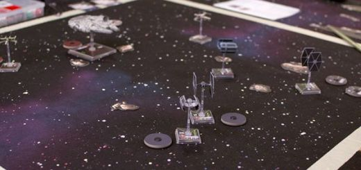 An image of a game of Fantasy Flight Games' X-Wing