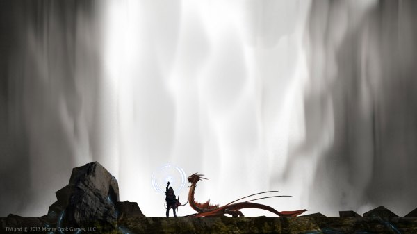 Dragon Rider art for Numenera. TM and Copyright Monte Cook Games LLC.