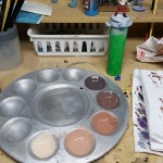 Paint palette with flesh tones