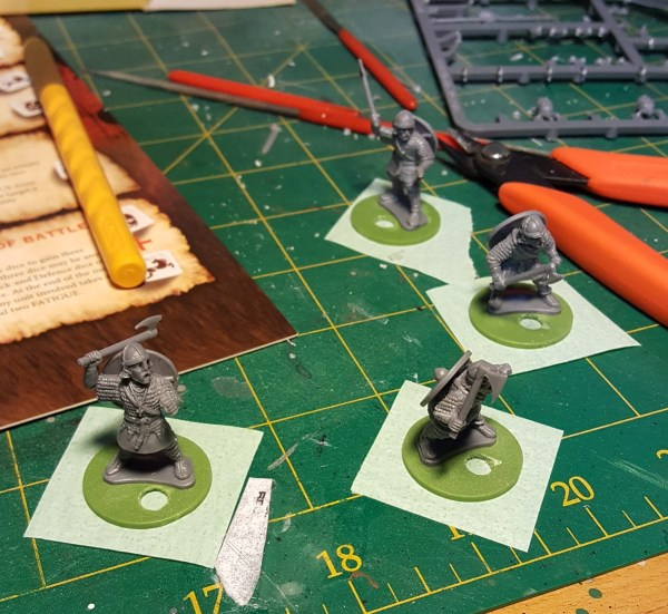 Masking the bottom of miniature bases.