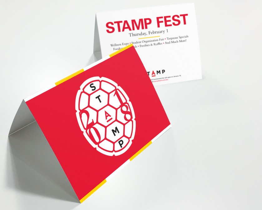 higher education design - stamp fest table tents