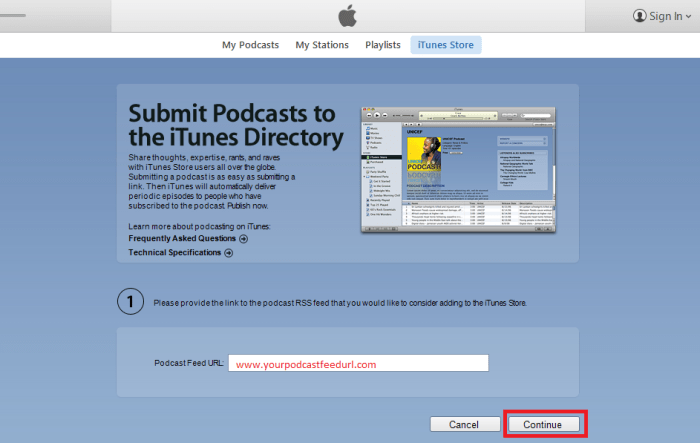 iTunes Submit Feed URL 2