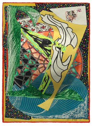 Frank Stella, Jonah historically regarded (dome), from the 'Moby Dick (domes)' series 1992, colour etching, aquatint, relief, engraving printed on handmade shaped paper. National Gallery of Australia, Purchased with the assistance of the Orde Poynton Fund 2002