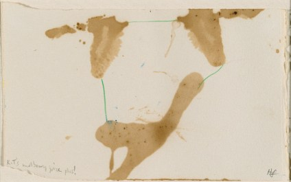 Helen Frankenthaler, K.T's mulberry juice plus!' 1977, drawing in mulberry stain and coloured pencil on cream wove paper. Gift of Kenneth Tyler and Marabeth Cohen-Tyler 2006.