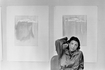 Portrait of Helen Frankenthaler in front proofs, artist's studio, Tyler Graphics Ltd., Bedford Village, New York, 1977. Photo: Lindsay Green