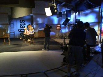 Sarah, Roy & Maeve on the LAFS Set