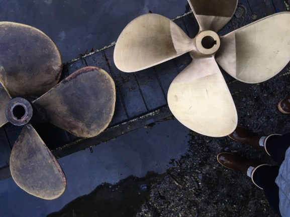 new old boat propellers