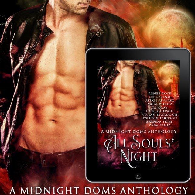 Promo card for All Souls' Night anthology, handsome man with open shirt exposing fiiiiiiiiine abs, and inset of e-reader showing book cover with same man.