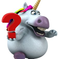 Sparkles the Unicorn with a question mark