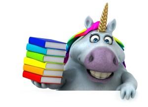 Sparkles the Unicorn holding books.