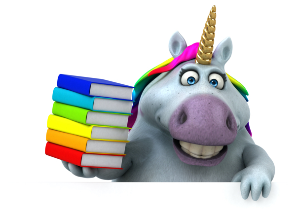 Sparkles the Unicorn holding books.