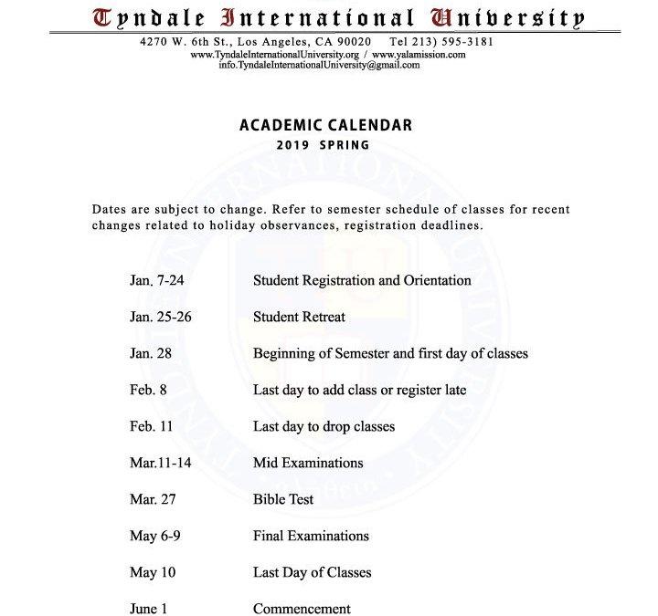2019 Spring Academic Calendar