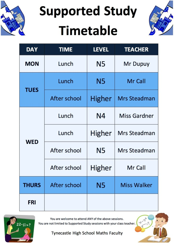 Maths Supported Study Timetable 2014-2015